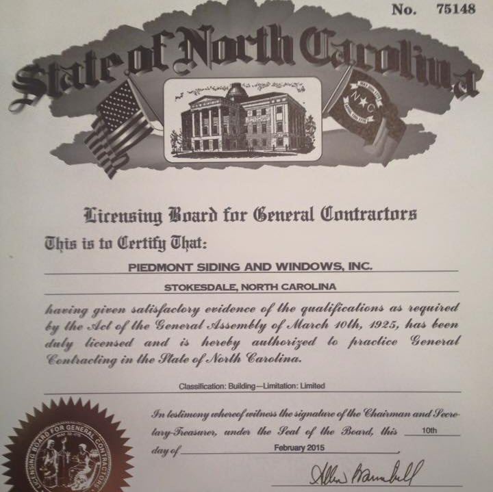 NC Licensed General Contractor - #75148